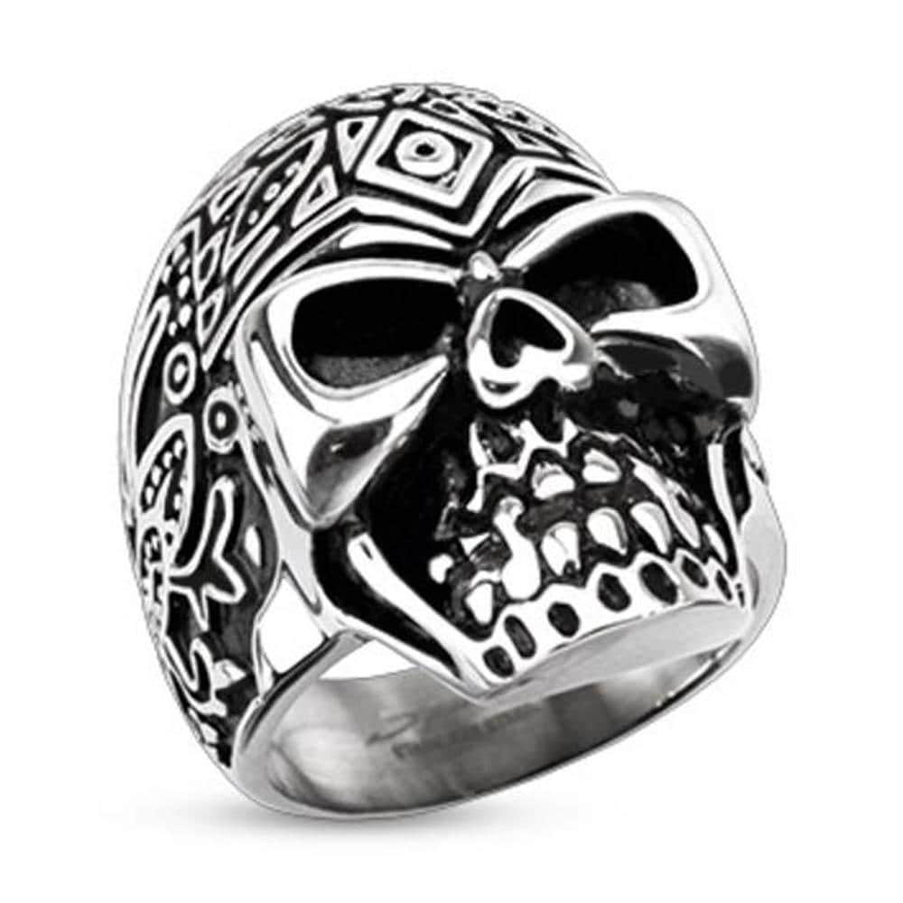 Stainless Steel Decorated Day of the Dead Sugar Skull Wide Cast Ring