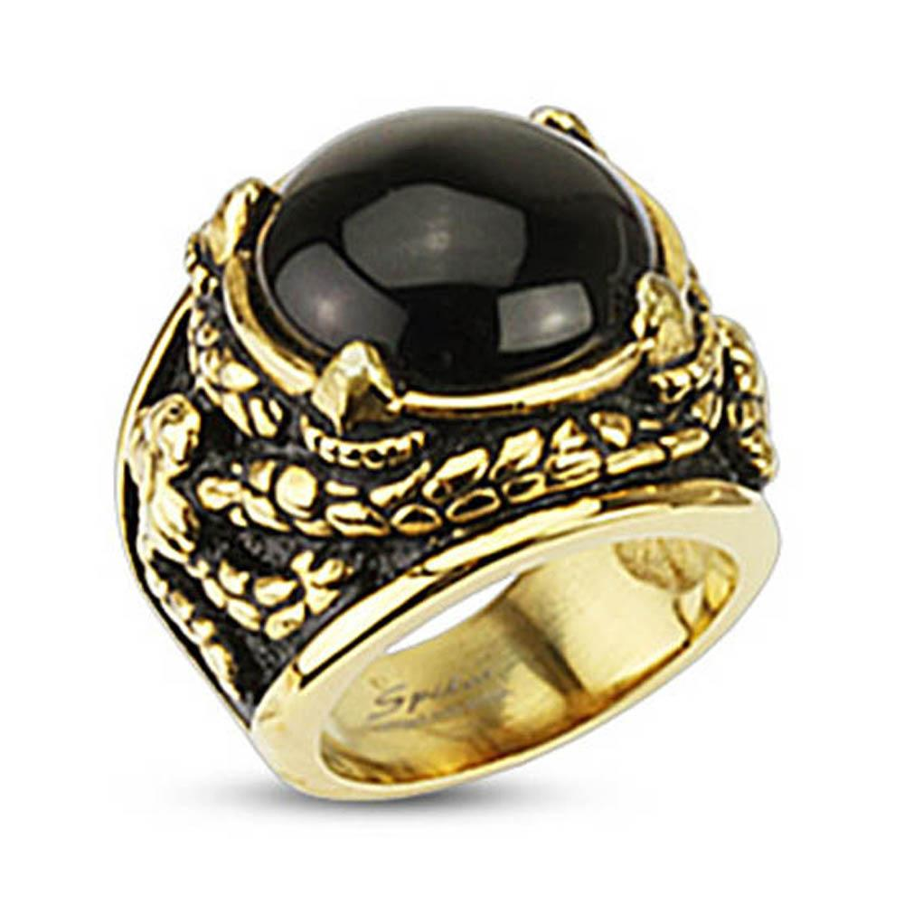 Gold Plated Stainless Steel Onyx Stone Dragon Claw Venom Entangled Wide Cast Ring