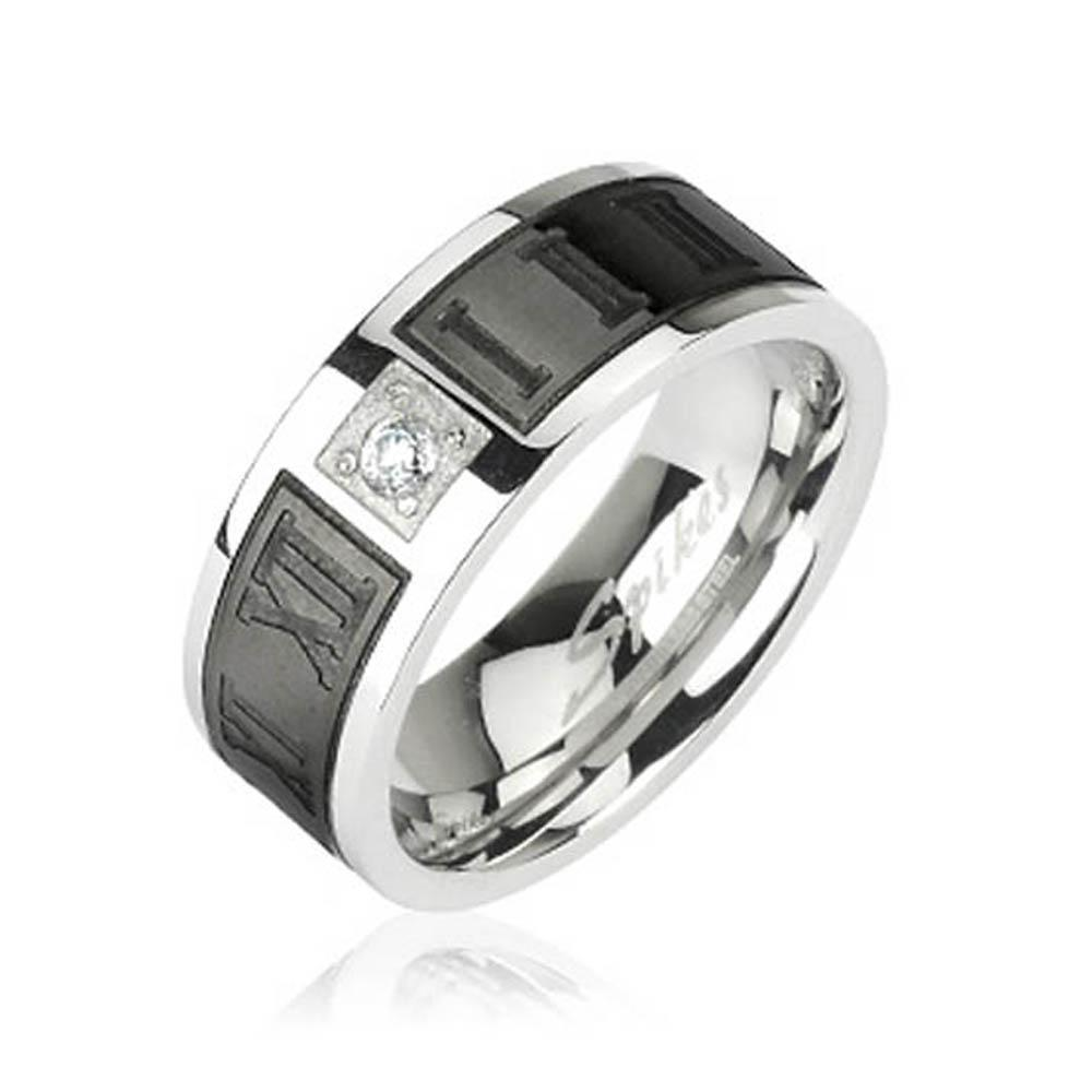 Stainless Steel Ring with Black Plated Engraved Roman Numerals with CZ Center