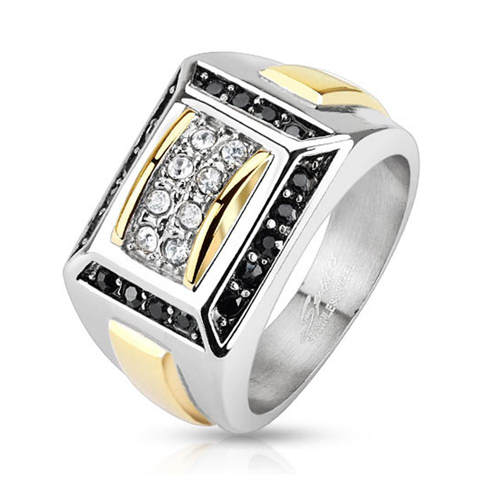 Micro Paved Clear CZs with Black CZ Border Square Cast Two Toned Stainless Steel Ring