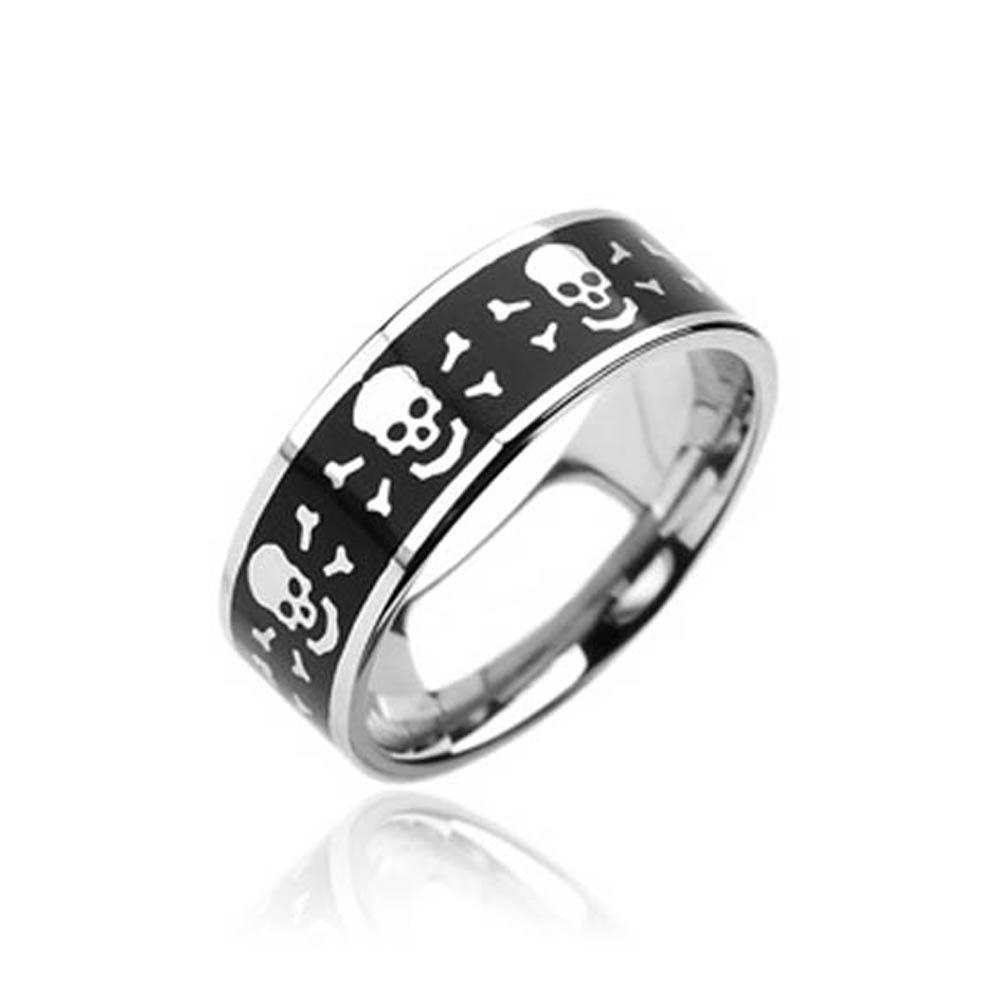 Stainless Steel with Laser Engraved Skull with Bones Black Ring