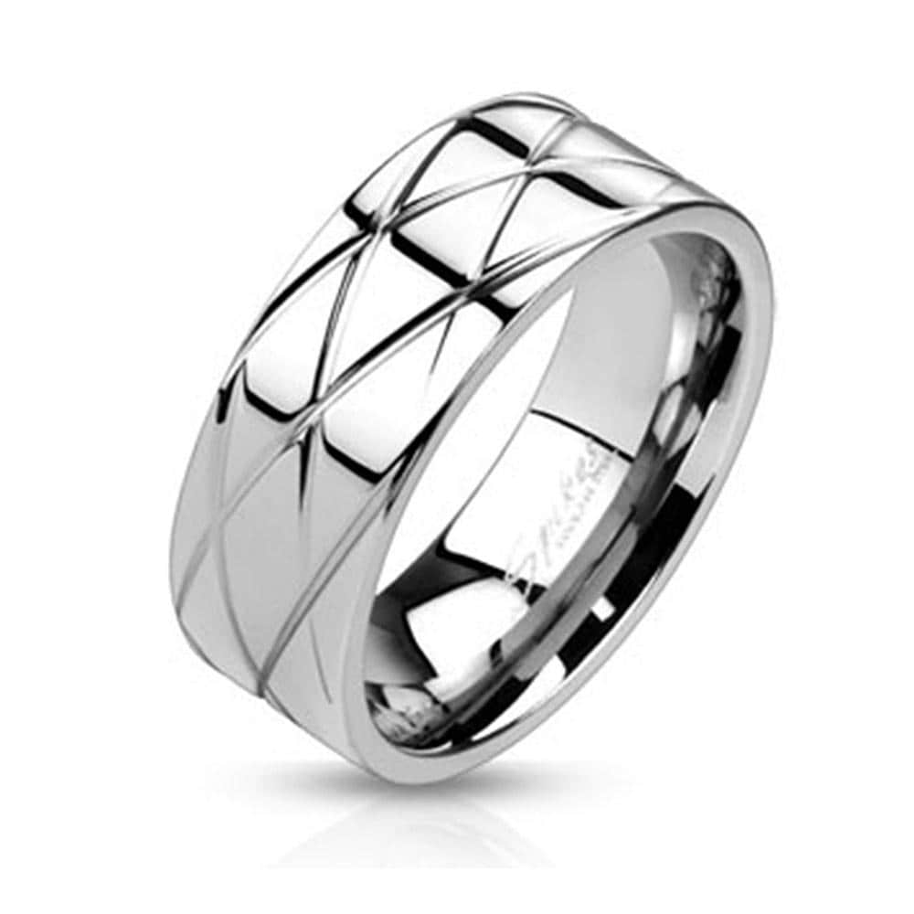 Diamond Cut Grooved Polished Band Stainless Steel Ring