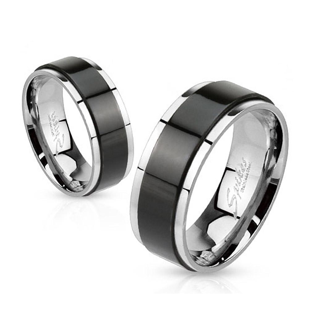 Spinner Black IP Two Toned 8mm Stainless Steel Ring