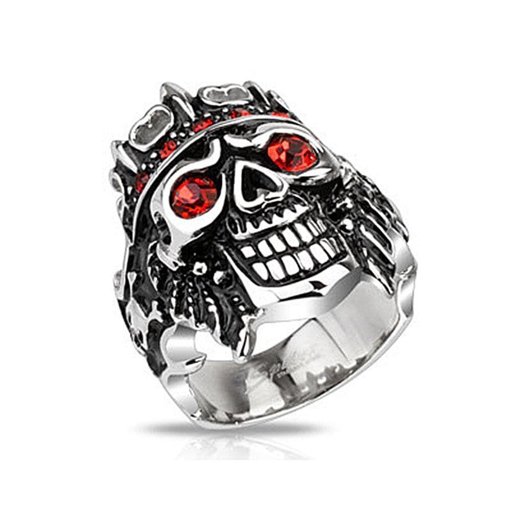 Pirate Skull King with Red CZs Wide Cast Stainless Steel Ring