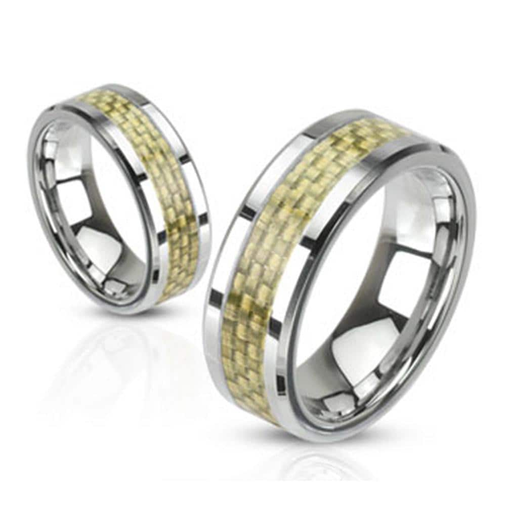 Gold Carbon Fiber Inlay Band Stainless Steel Ring
