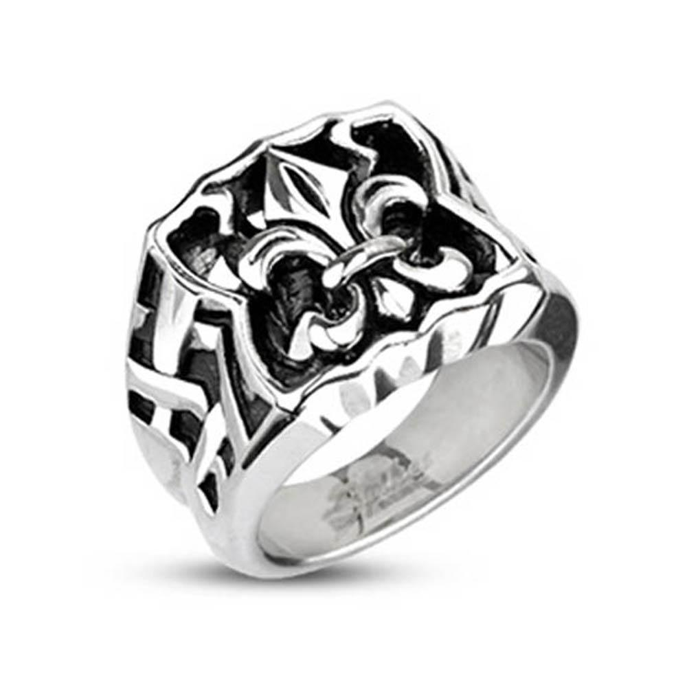 Stainless Steel Fleur De Lis Bow Wide Cast Ring