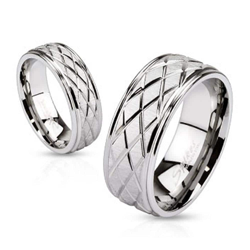 Diamond Groove Cut Engraved Two Tone Band 6mm or 8mm Stainless Steel Ring