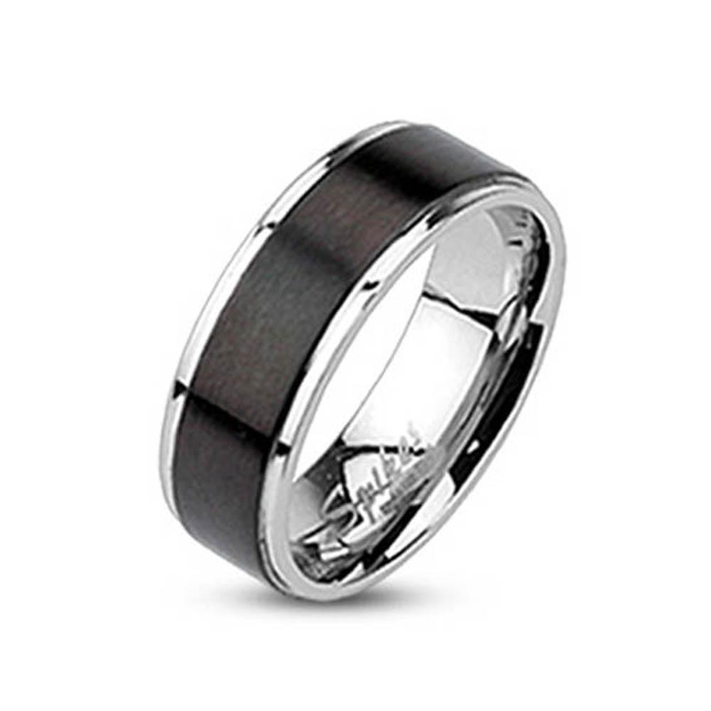 Stainless Steel Black Plated Brushed Center Band Ring