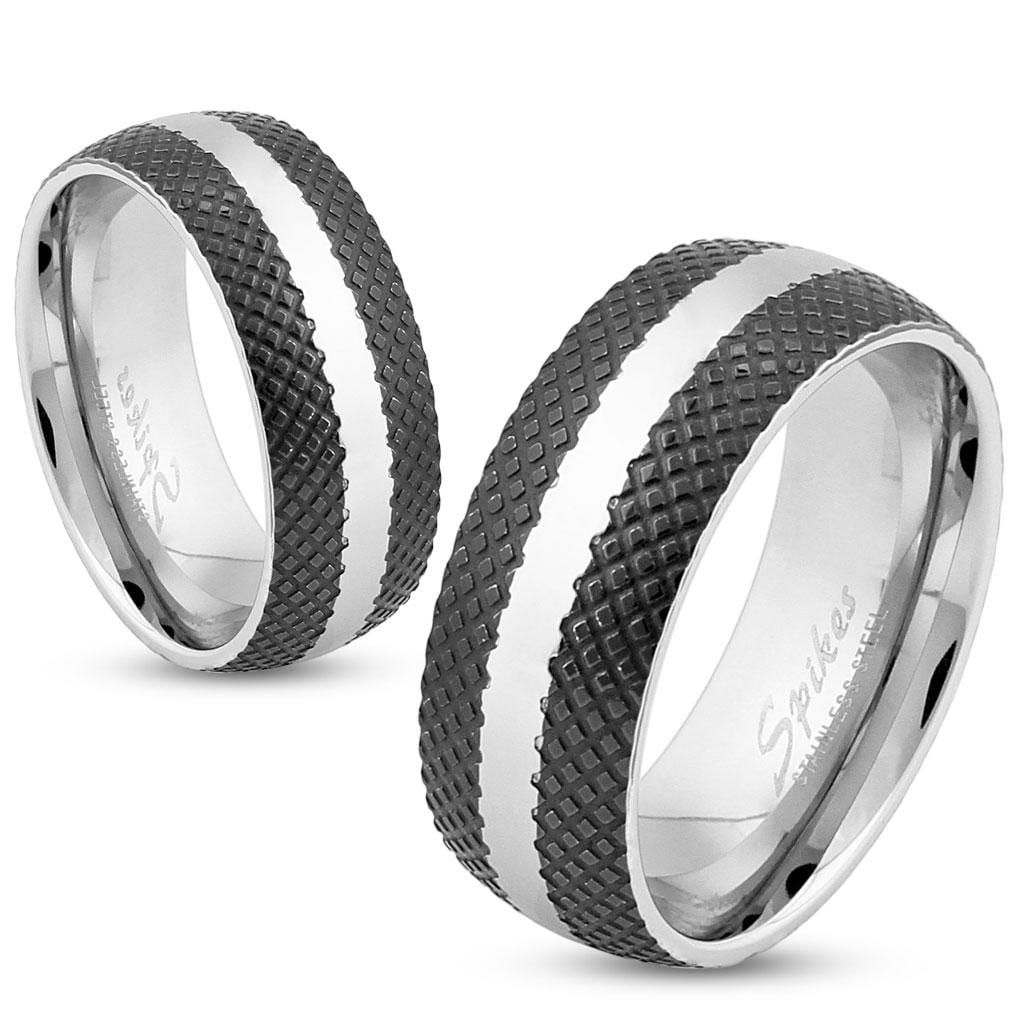 Cross-Etched Black IP 6 MM or 8 MM Wide Stainless Steel Ring with Center Strip