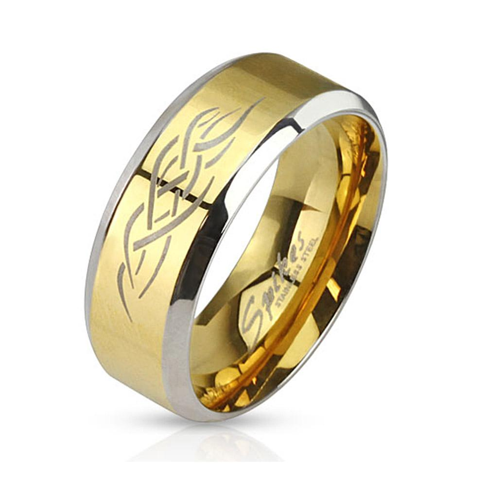 Tribal Inlay Gold IP Center Two Tone Stainless Steel Band Ring