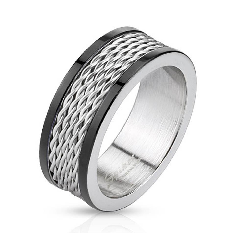 Multi Wire Inlay Stainless Steel Band Ring with Black IP Edge