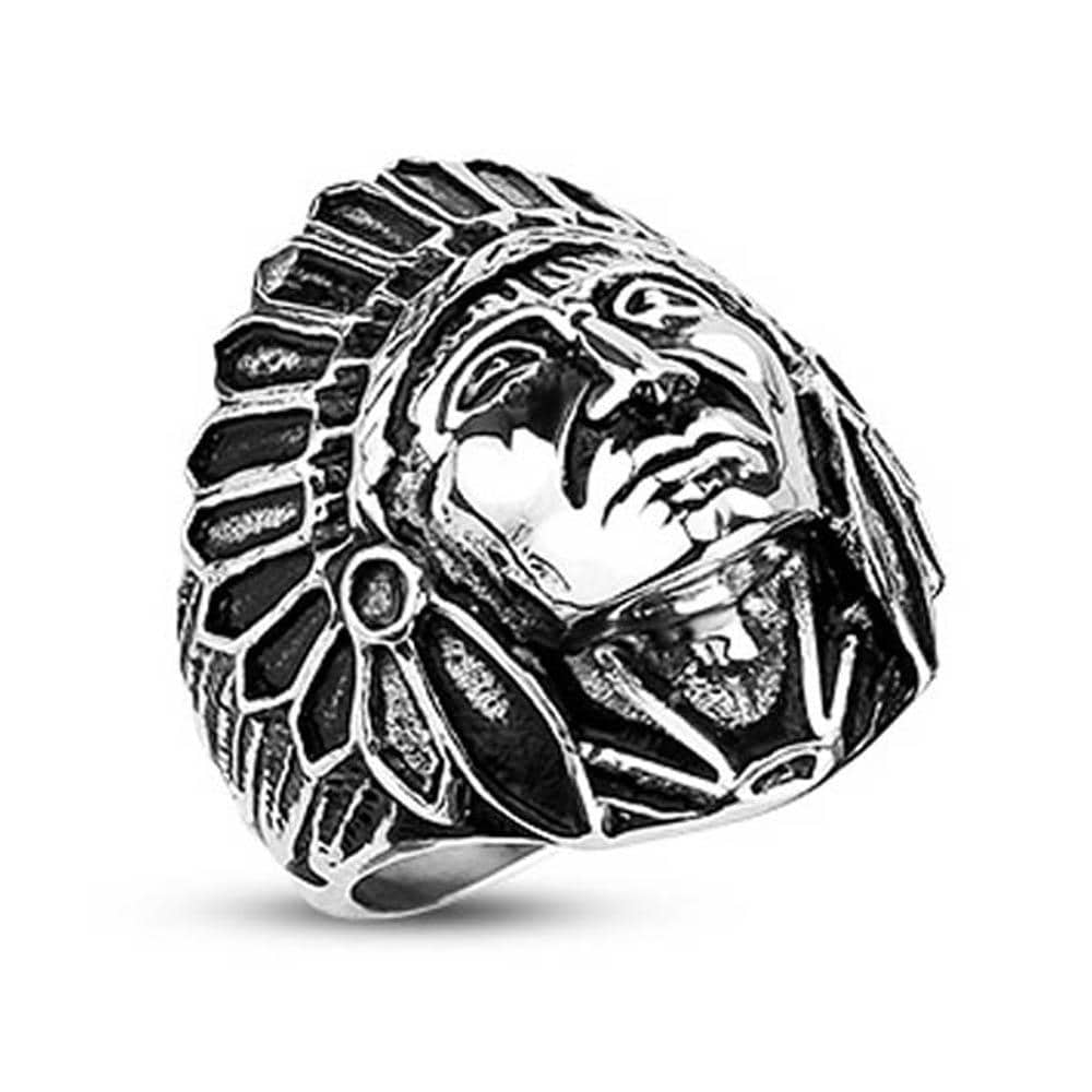 Stainless Steel Apache Indian Chief Wide Cast Shield Ring