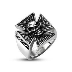 Stainless Steel Sinical Skull Celtic Cross Ring - Thumbnail 0
