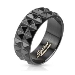Spiked Black IP Stainless Steel Ring - Thumbnail 0