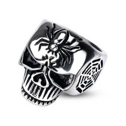 Stainless Steel Spider Web Skull Cast Ring - Thumbnail 0