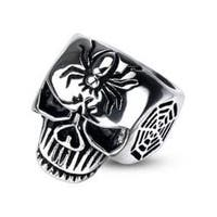 Stainless Steel Spider Web Skull Cast Ring