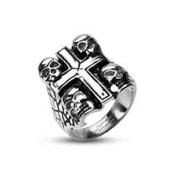 Stainless Steel Death Skulls Cross Ring - Thumbnail 0