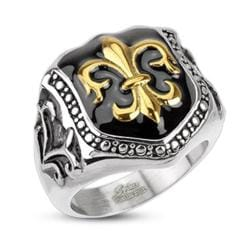 Stainless Steel Golden Fleur De Lis Glossy Epoxy Coated Shield Wide Cast Ring - Thumbnail 0
