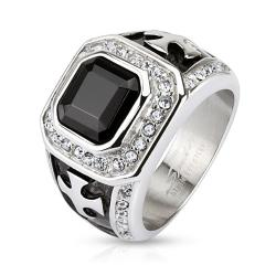 Onyx Stone with Micro Paved Clear CZs Border and Celtic Cross 16mm Wide Square Stainless Steel Ring