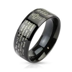 Outlined Cross and Lord's Prayer Beveled Edge 6mm or 8mm Stainless Steel Black IP Band Ring - Thumbnail 0