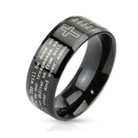 Outlined Cross and Lord's Prayer Beveled Edge 6mm or 8mm Stainless Steel Black IP Band Ring
