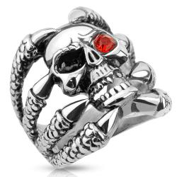 Clawed Skull with One Red CZ Eye Stainless Steel Biker Cast Ring
