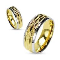 Diamond-Cut Gold IP Center Shiny Finish Steel Edges 316L Surgical Stainless Steel Ring