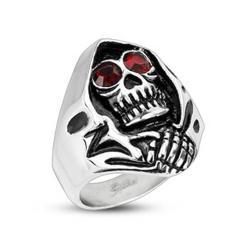 Stainless Steel Red CZ Eyed Grim Reaper Wide Cast Ring - Thumbnail 0