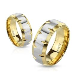 Indented Beveled Edges Stainless Steel Gold IP Ring - Thumbnail 0