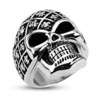 Stainless Steel Fleur De Lis Pattern Decorated Skull Wide Cast Ring