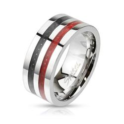 Double Black and Red Carbon Fiber Inlay Wide Band Stainless Steel Ring