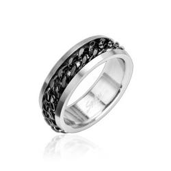 Stainless Steel Ring with Spinning Center Black Chain