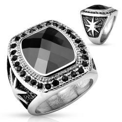Large Black Gem with Starburst Design Stainless Steel Ring - Thumbnail 0