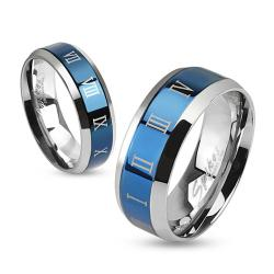 Roman Numerals Beveled Edge Stainless Steel Blue IP Center Band Ring