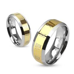 Roman Numerals Beveled Edge Stainless Steel Gold IP Center Band Ring - Thumbnail 0