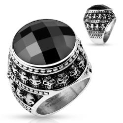 Large Black Gem Center with Gothic Skull Pattern Stainless Steel Ring - Thumbnail 0