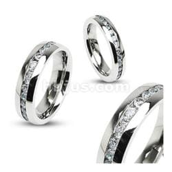 Eternity Clear Gems Stainless Steel 6mm Ring - Thumbnail 0