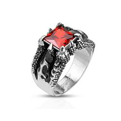 Fire Dragon Claw Set Ruby Red Square Gem Cast Stainless Steel Ring (More options available)