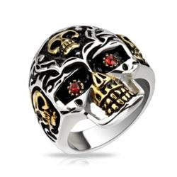 Skull Gold IP Accent with Red CZ Eyes Skull Cast Stainless Steel Ring - Thumbnail 0