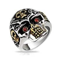 Skull Gold IP Accent with Red CZ Eyes Skull Cast Stainless Steel Ring