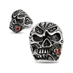 Salsa Dancer Skull with Rose Red CZ Cast Stainless Steel Ring - Thumbnail 0