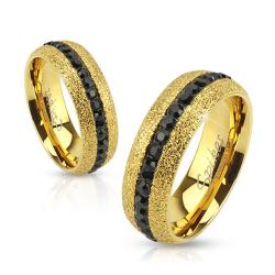 Glittery Gold IP Over Stainless Steel Ring With Black CZ Center