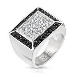 Micro Paved Clear CZs with Black CZ Border Square Cast Stainless Steel Ring - Thumbnail 0