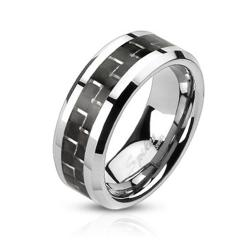 Black Carbon Fiber Inlay Band Stainless Steel Ring - Thumbnail 0