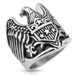 Eagle with Star Shield Stainless Steel Biker Cast Ring - Thumbnail 0
