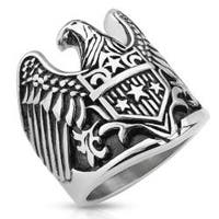 Eagle with Star Shield Stainless Steel Biker Cast Ring