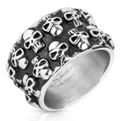 Double Line Clustered Skulls Stainless Steel Biker Cast Ring - Thumbnail 0