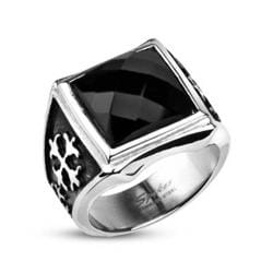 Stainless Steel Square Onyx CZ Royale Cross Cast Ring