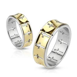 Cross Pattern Band Stainless Steel Gold IP Ring - Thumbnail 0