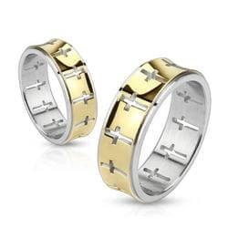 Cross Pattern Band Stainless Steel Gold IP Ring